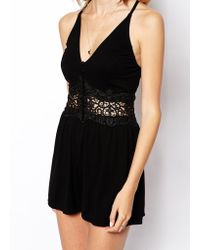 Asos Playsuit With Lace Insert - Lyst