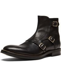 Alexander McQueen Mens Three Buckle Leather Boots - Lyst