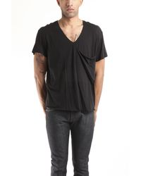3.1 Phillip Lim Hand Rolled V-Neck Tee With Slouch Pocket In Black black - Lyst