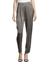 Donna Karan New York Pleat-Front Back-Zip Pants - Lyst