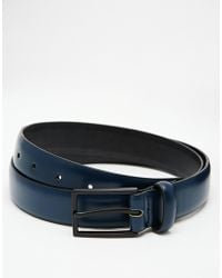 Asos Smart Belt In Blue Faux Leather With Rubber Finish And Black Buckle - Lyst