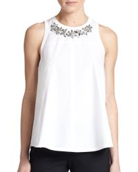 Rebecca Taylor Gem-Embellished Sleeveless Top white - Lyst