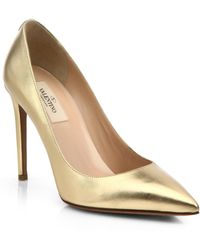 Valentino Metallic Leather Point-Toe Pumps - Lyst