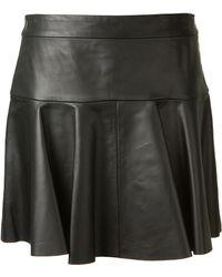 Thakoon Black Leather Mini Skirt - Lyst