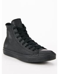 Converse Chuck Taylor All Star Hi Top Leather Mono Plimsolls - Lyst