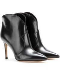 Gianvito Rossi Mable Leather Ankle Boots - Lyst