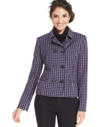 Jones New York Plaid Double-Breast Blazer - Lyst
