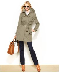 Michael Kors Michael Hooded Belted Trench Coat - Lyst