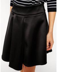 Asos Premium Skirt With High Low Hem In Bonded Satin - Lyst