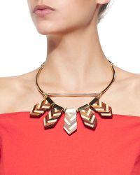 Lela Rose - Mixed Chevron Wooden Choker Necklace - Lyst