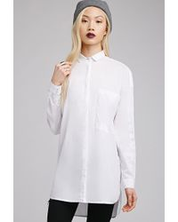 Forever 21 Longline Button-Down Shirt - Lyst