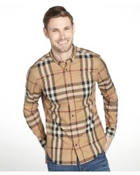 Burberry Brit Camel Check Cotton Long Sleeved Shirt - Lyst