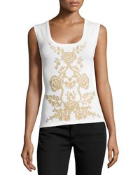 Carolina Herrera Embellished Scoop-neck Tank - Lyst