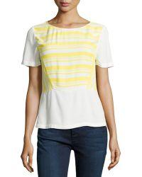 Ella Moss Annika Striped Short-Sleeve Top - Lyst