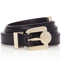 Karen Millen Texture Leather Skinny Belt - Lyst