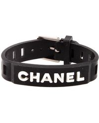 Chanel Pre-Owned Black Rubber Nameplate Bracelet - Lyst