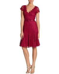 Theia Flared Lace Dress - Lyst