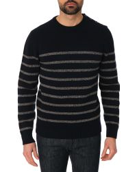 Hackett Striped Navy Blue And Grey Wool And Cashmere Round Neck Jumper - Lyst