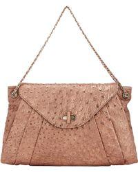 Zagliani - Ostrich Claudia Medium Shoulder Bag-brown - Lyst