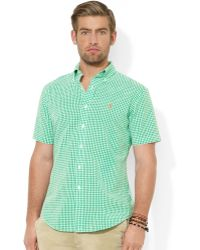 Ralph Lauren Polo Classicfit Shortsleeved Checked Seersucker Shirt - Lyst