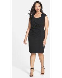 Calvin Klein Side Ruched Sheath Dress - Lyst