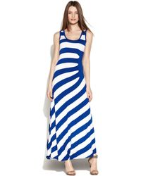 Calvin Klein Sleeveless Gatheredstripe Maxi Dress - Lyst