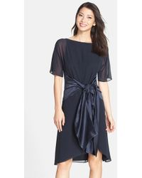 Cynthia Steffe 'Lilly' Tie Waist Chiffon A-Line Dress black - Lyst