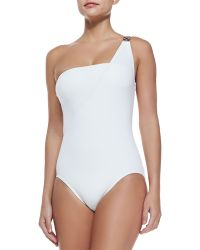 MICHAEL Michael Kors Watchband-Strap One-Shoulder Swimsuit - Lyst