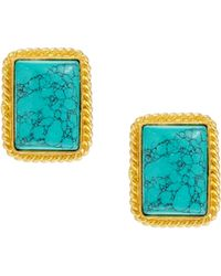 Kasturjewels - 22kt Gold Plated Turquoise Stone Earrings - Lyst