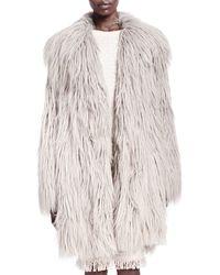 Lanvin Shaggy Faux-fur Coat - Lyst