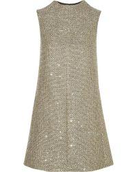 Saint Laurent Sequinembellished Metallic Tweed Mini Dress - Lyst