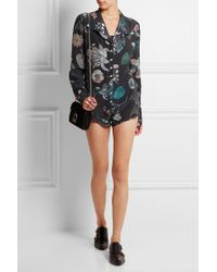 Versus - - Floral-print Silk Playsuit - Navy - Lyst