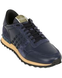 Valentino Rockstud Leather & Suede Sneakers - Lyst