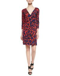 Diane Von Furstenberg New Julian Two 34-sleeve Printed Wrap Dress - Lyst