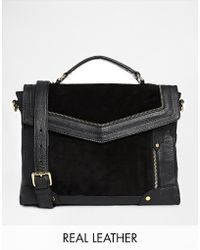 Asos Leather and Suede Mix Zippy Satchel Bag - Lyst