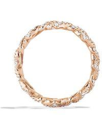 David Yurman Venetian Quatrefoil Stacking Ring with Diamonds in Rose Gold - Lyst