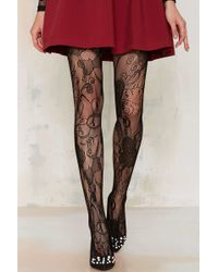 Look From London - Flutter Lace Tights - Lyst
