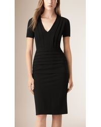 Burberry | Pleat Detail Fitted Dress | Lyst