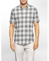 Calvin Klein | White Label Classic Fit Windowpane Plaid Twill Short Sleeve Shirt | Lyst