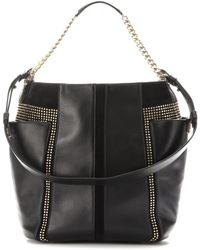 Jimmy Choo Anna Stud Embellished Leather and Suede Tote - Lyst