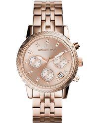 Michael Kors Rose Golden Stainless Steel Ritz Watch - Lyst