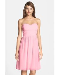 Donna Morgan 'Sarah' Strapless Ruched Chiffon Dress - Lyst