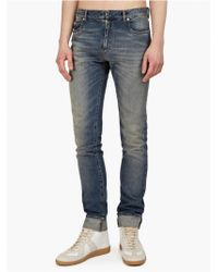 Maison Martin Margiela 10 Mens Blue Slim Fit Turn-up Jeans - Lyst
