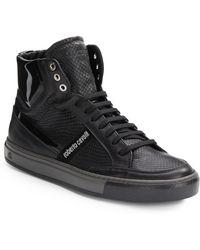 Roberto Cavalli Snake-Embossed Leather Sneakers - Lyst