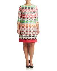 Eliza J Plus Geo Three-Quarter Sleeve Shift Dress - Lyst