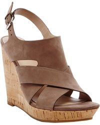 Dolce Vita Tawnie Leather Slingback Wedge Sandals - Lyst