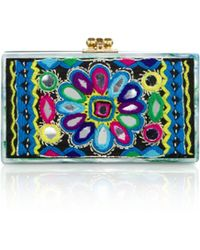 Edie Parker Jean Embroidered Acrylic Clutch - Lyst
