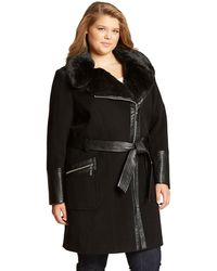 Via Spiga Plus Faux Fur Accented Walker Coat - Lyst