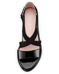 Taryn Rose Maura Crisscross Stretch Patent Wedge Sandal Black - Lyst
