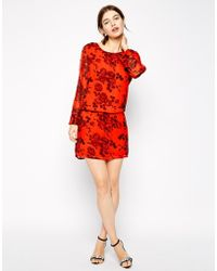 Ganni Dress With Drop Waist In Floral Print - Lyst